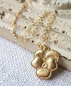 Violet Necklace, Gold Pansy Flower Necklace by MySweetNomsa on Etsy