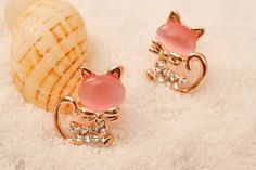9K Yellow Gold Filled CZ Pink Kitty Cat Earrings Stud .39 inches #Stud