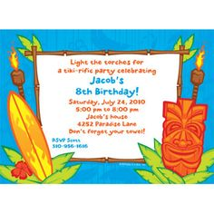 Tiki Party Personalized Invitation at Birthday in a Box