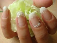 Nails with Pearls | French nail with pearls, don't love the glitter, but it is unique