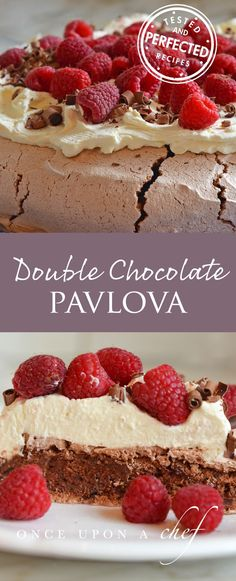Double Chocolate Pavlova with Mascarpone Cream & Raspberries