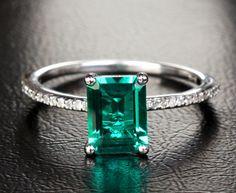 Round Prong 6x8mm Green Emerald 14k White Gold Engagement Wedding Diamonds Ring   eBay