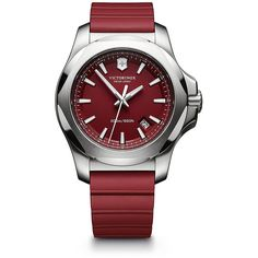 Victorinox Swiss Army Maverick Inox Stainless Steel & Rubber Watch ($495) ❤ liked on Polyvore featuring jewelry, watches, red silver, rubber jewelry, victorinox swiss army, stainless steel wrist watch, water resistant watches and rubber strap watches