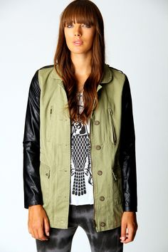 Ruth Military Coat With PU Sleeves  http://www.boohoo.com/restofworld/clothing/back-in-stock/icat/back-in-stock/all-coats/ruth-military-coat-with-pu-sleeves/invt/azz60558#