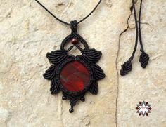 Makramé csomózott ásvány jáspis macskaszem onyx fekete kézműves ékszer nyaklánc