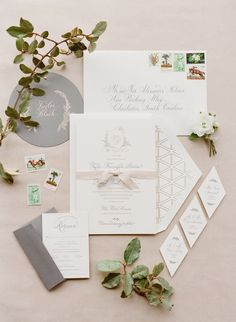 classic wedding invitations in neutral tones with geometricdetails| Photography: KT Merry