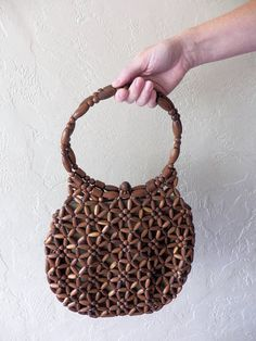 ba39e5e4cf This item is unavailable. Vintage 1970 s Wooden Bead Boho Handbag Bohemian  Spring