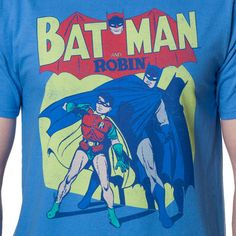 5d593030 Batman & Robin In The Spotlight Carolina Blue Mens T-shirt: Features a  distressed print of Batman & Robin. This tee can be seen worn on Sheldon  Cooper of ...