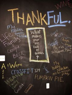 Chalkboard wall talk: What makes you full of thanks? #crossfit
