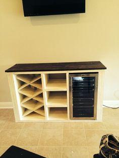 Bar With Kegerator Amp Wine Fridge Stock Pine Cabinets