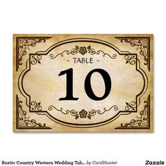 Rustic Country Western Wedding Table Number Card Table Cards