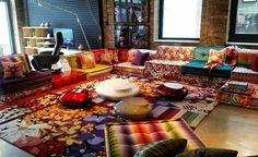 The iconic Roche Bobois Mah Jong modular sofa. Since 1970! #rochebobois #mahjong…