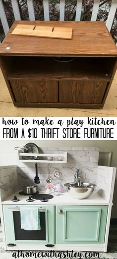 how to make a play kitchen from a $10 thrift store furniture piece
