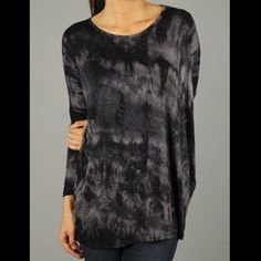 Black Tie-dye Top Fits generously true to size. Soft, comfort fit. Accommodates large bust lines. Medium weight fabric. Beautiful color on this shirt. Image 4 to the left courtesy of @katibug3  Fabric Content: 95% rayon, 5% spandex Fit: Runs large and is made to fit loose   *SOLD OUT OF MEDIUM          PRICE IS FIRM UNLESS BUNDLED Tops Tunics