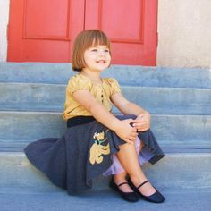 Custom little girls Pluto Skirt set is a UNIQUE poodle skirt style custom boutique Perfect for Dapper Day