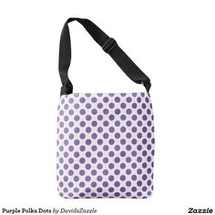 Purple Polka Dots Tote Bag  Available on many products! Hit the 'available on' tab near the product description to see them all! Thanks for looking!     @zazzle #art #polka #dots #shop #chic #modern #style #circle #round #fun #neat #cool #buy #sale #shopping #men #women #sweet #awesome #look #accent #fashion #clothes #apparel #tote #bag #accessories #accessory #compact #mirror #hand #purse #clutch #cosmetic #makeup #messenger #bicycle #purple #white