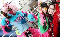 Takuya Angel cybergoth fashion show in Tokyo, Japan. Fruits fashion, wild colorful bright rave gear, cyber robot alternative clothing, Cyberdog style.