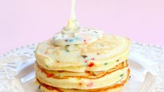 Cake batter-flavored pancakes that are a sweet treat for a special occasion or everyday. Now you can have cake for breakfast!