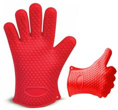 Red Heat Resistant Silicone Gloves - Great for Use In Kitchen Handling All High Temperature Food - Potholder - Protective Oven, Grilling, Baking, Smoking and Cooking Gloves - By Kitch N Wares ** Remarkable discounts available  : Bakeware