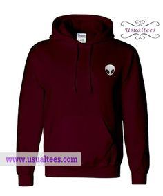 Alien Maroon Hoodie from usualtees.com This hoodie is Made To Order, one by one printed so we can control the quality.