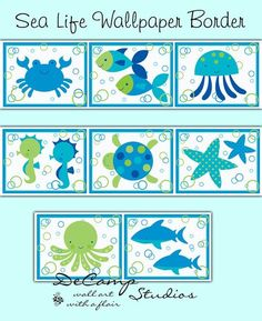 Sea Life Ocean Creatures wallpaper border wall decals in green and blue colors for baby boy or girl nursery and children's room decor #decampstudios