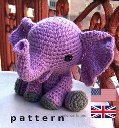Baby Elephant-Instant Download Crochet Pattern-Toy Elephant-Amigurumi Elephant-DIY Crochet Toy-Stuffed Toy Animal-Elephant Tutorial https://www.etsy.com/de/listing/233286497/baby-elephant-instant-download-crochet?utm_source=Pinterest&utm_medium=PageTools&utm_campaign=Share