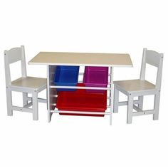 RiverRidge Home Products 01004 Kids Table With 2 Chairs And 3 Plastic Storage Bins -- Click image for more details.