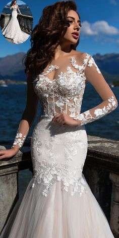 Fascinating Tulle Bateau Neckline See-through Bodice Mermaid Wedding Dress With Lace Appliques & Beadings