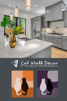 #cat #posterprints in #orange and #purple showing a #blackcat and a #whitecat with their tails forming a #heart shape. The #walldecor works great for a #modernstyle #kitchenwalldecor . If a different color suits your kitchen #colorityourway by changing the fill color. #kbmd3signs creates #walldecor for kitchens that allow #custom #colors