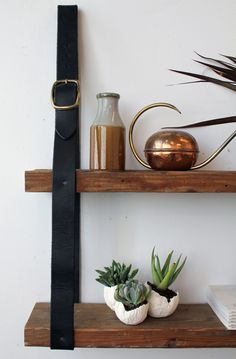 diy project: recycled leather & wood shelf – Design*Sponge