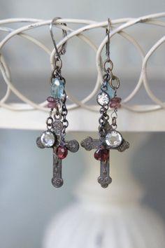 Assemblage jewelry earrings cross earrings by frenchfeatherdesigns