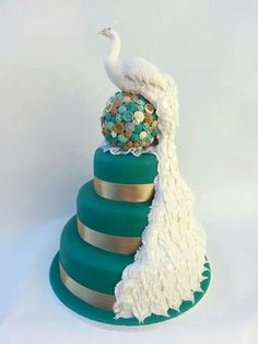 Christmas peacock cake in teal.