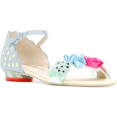 Sophia Webster pastel floral embellished sandals ($346) ❤ liked on Polyvore featuring shoes, sandals, colorful sandals, blue leather shoes, leather shoes, floral print sandals and multi colored sandals