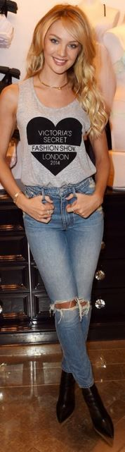 Who made Candice Swanepoel's gray print tank and blue ripped jeans?