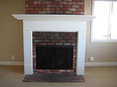 solution to make brick fireplace less prominent Build A Fireplace, Brick Fireplace, Fireplace Ideas, Red Bricks, Fireplaces, Interior Design, Living Room, Building, Remodeling