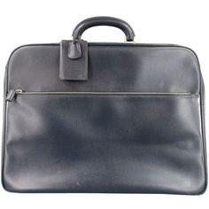 Pre-Owned Valextra Navy Leather Linea S Carry-on Breifcase ($810) ❤ liked on Polyvore featuring men's fashion and blue