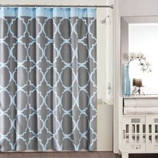 Studio 3B Jay Fret Shower Curtain - Grey/Blue - Bed Bath & Beyond its offical we are going blue grey black and white!