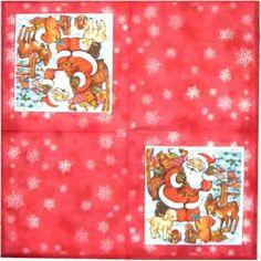 Servilleta decorada navidad Papa Noel con animales