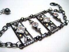 Gothic Rhinestone Metalwork Bracelet
