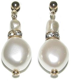 Helga Wagner Collection Mop Drop Earring - Mother of Pearl Nugget drop earring with a small Fresh Water Pearl and Diamante roundels at shoptiques.com.