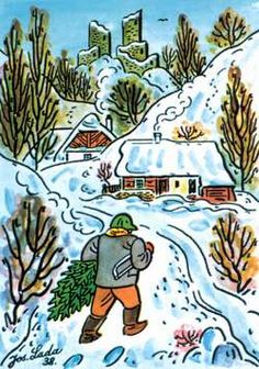 A Czech Christmas wouldn't be complete without Josef Lada's simply drawn carolers, snow-covered villages and nativity scenes. Josef Lada w. Christmas And New Year, Vintage Christmas, Christmas Cards, Christmas Trees, Happy Birthday Artist, Norman Rockwell Paintings, Winter's Tale, Summer Pictures, Winter Scenes