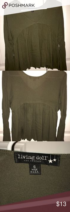 Army Green Top Lightly worn! Cropped, flowy top. Pairs great with black jeans. 100% rayon. Living Doll Tops Blouses