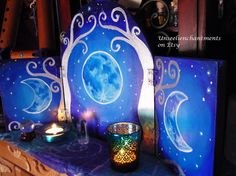 RESERVED Moon Elven Shrine -Triptych, Magic Altar,OOAK, Moon Phases, Triple Moon…                                                                                                                                                     More