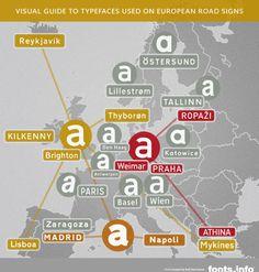 Typografie.info - Infografik: Schriftarten auf europäischen Verkehrsschildern
