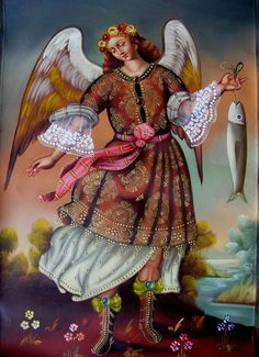 San Rafael Arcángel / is not named in the Bible but is associated with healing. Religious Icons, Religious Art, Angel San Rafael, Archangel Raphael, Religious Paintings, My Guardian Angel, Angel Crafts, Lion Of Judah, Byzantine Art