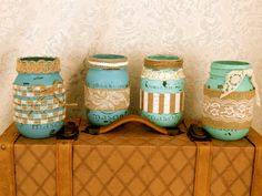 Teal Ombre Painted Mason Jars Set of 4 -Burlap and Lace Mason Jars Distressed Flower Vases, Rustic Wedding Centerpieces, Shabby Chic