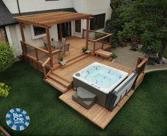 Hot Tub Pergola, Hot Tub Deck, Hot Tub Backyard, Hot Tub Garden, Jacuzzi Outdoor, Deck With Pergola, Backyard Patio, Patio Deck Designs, Backyard Pool Designs