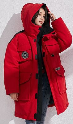 14be1f5a17f Fine red down coat winter casual hooded snow jackets big pockets overcoat.  Red Winter CoatWomens ParkaOversized JacketPlus Size ...