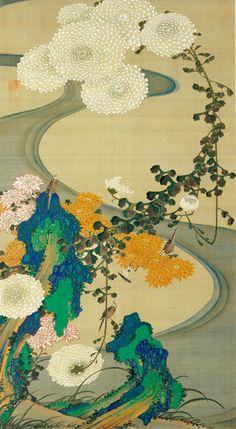 Itō Jakuchū, 菊花流水図, Birds and chrysanthemums by a stream, c. 1765