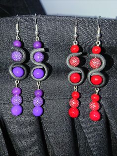 Red and purple leather earrings
